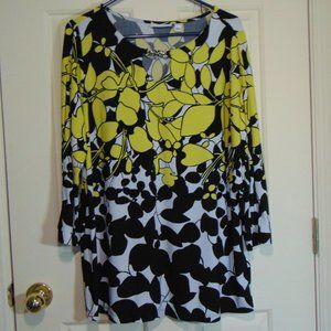 Susan Graver Black & Yellow Floral Print Blouse XL
